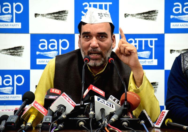 New Delhi: AAP leader Gopal Rai addresses a press conference in New Delhi on March 5, 2019. (Photo: IANS)(Image Source: IANS News)
