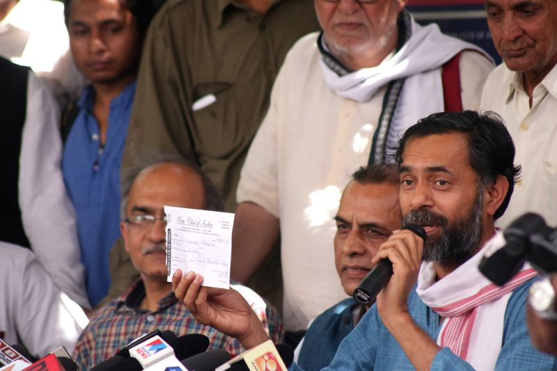 AAP leader Yogendra Yadav addresses a press conference at the Press Club of India in New Delhi, on March 27, 2015.