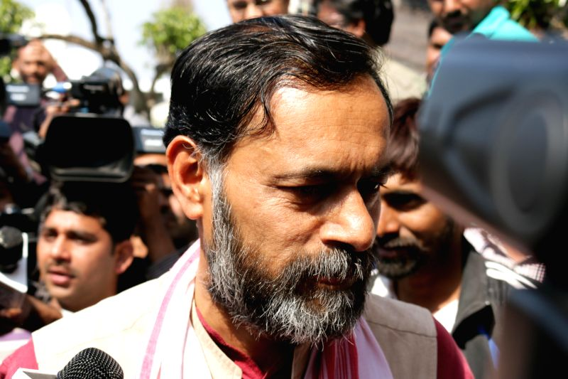 AAP leader Yogendra Yadav arrives to attend the national executive meeting of the Aam Aadmi party at Kapashera in New Delhi, on March 4, 2015.