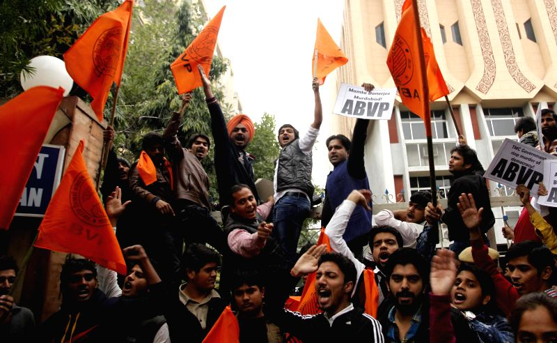 ABVP activists protest against TMC outside Banga Bhawan in New Delhi on Jan. 3, 2015.