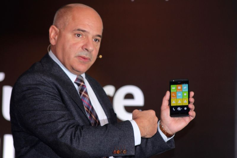 Acer Group's vice president (smartphones) Allen Burnes at the launch of a smartphone in New Delhi, on Dec 8, 2014. Acer has restarted its smartphone business in India in partnership with ..