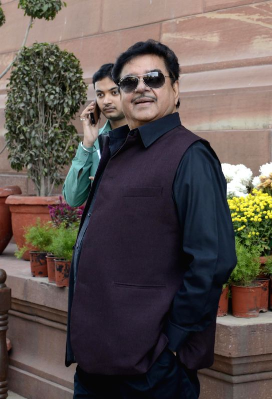 Actor and BJP MP from Patna Saheb ​​​Shatrughan Sinha​ at the Parliament premises in New Delhi, on Dec 3, 2014. - Shatrughan Sinha