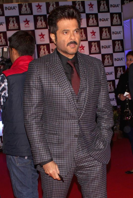 Actor Anil Kapoor during a programme organised to celebrate 21 years of a `Aap Ki Adalat` a TV show at Pragati Maidan in New Delhi on Dec 2, 2014. - Anil Kapoor