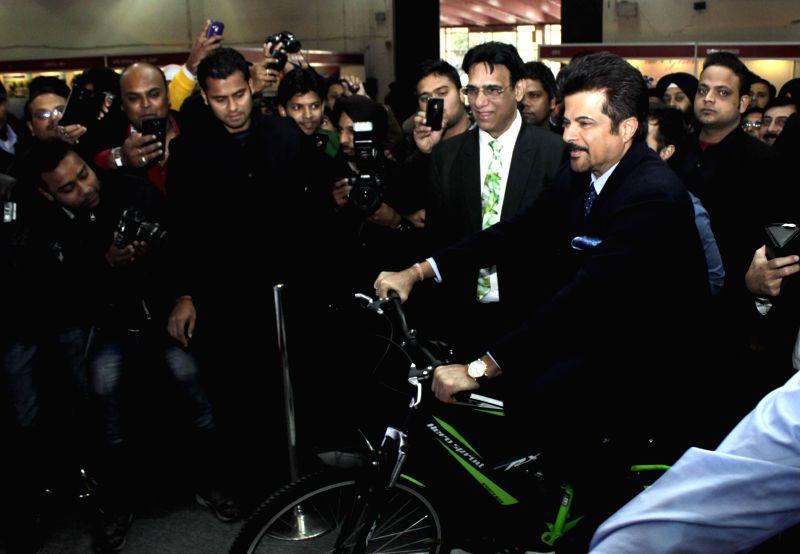 Actor Anil Kapoor during inauguration of an exhibition at Pragati Maidan, New Delhi on Jan. 29, 2015.