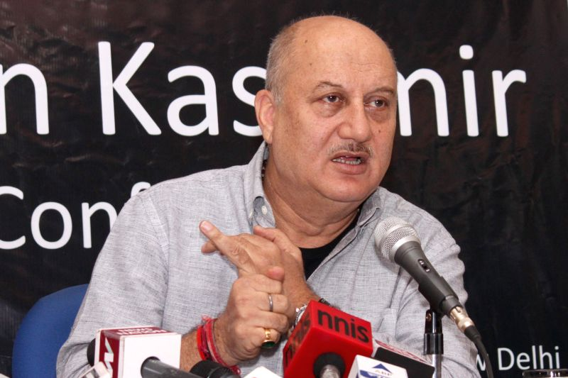 Actor Anupam Kher addresses a press conference regarding ​t​he return of Kashmiri Pandits to Kashmir in New Delhi, on April 12, 2015.