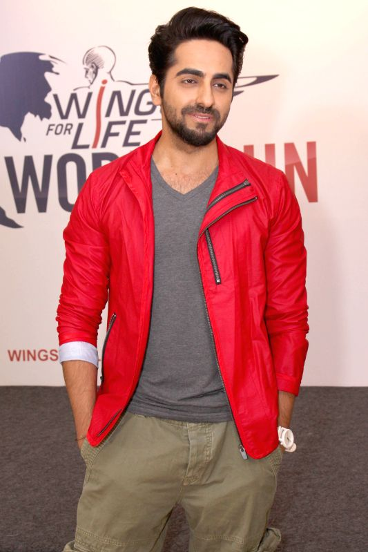 Actor Ayushmann Khurrana during a programme to announce the 2nd edition of `Wings For Life World Run` in New Delhi, on April 8, 2015. - Ayushmann Khurrana