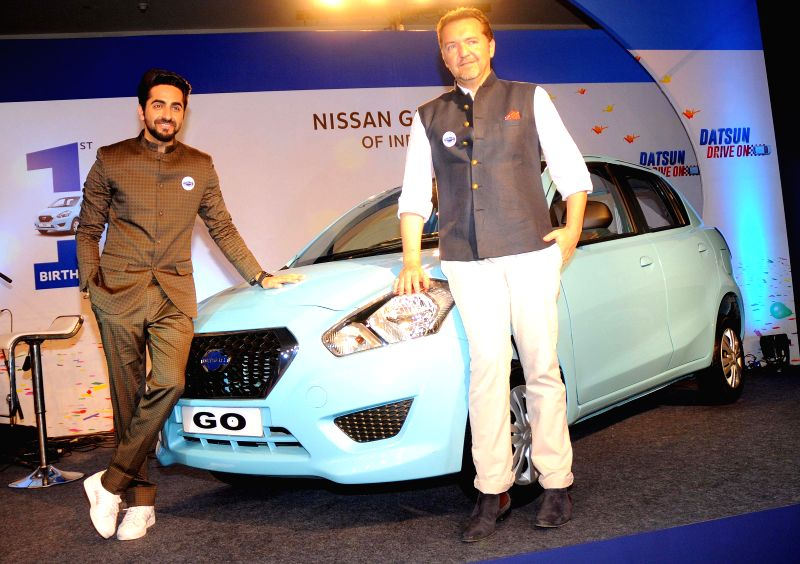 Actor Ayushmann Khurrana during the first anniversary celeberation of Nissan`s `Datsun GO` in New Delhi, on April 11, 2015.
