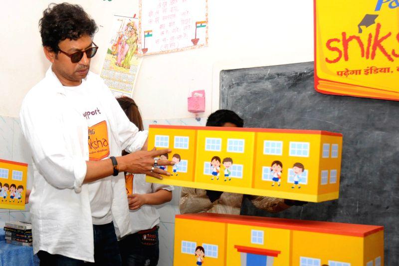 Actor Irrfan Khan at the P&G Shiksha school in New Delhi on April 30,2015.