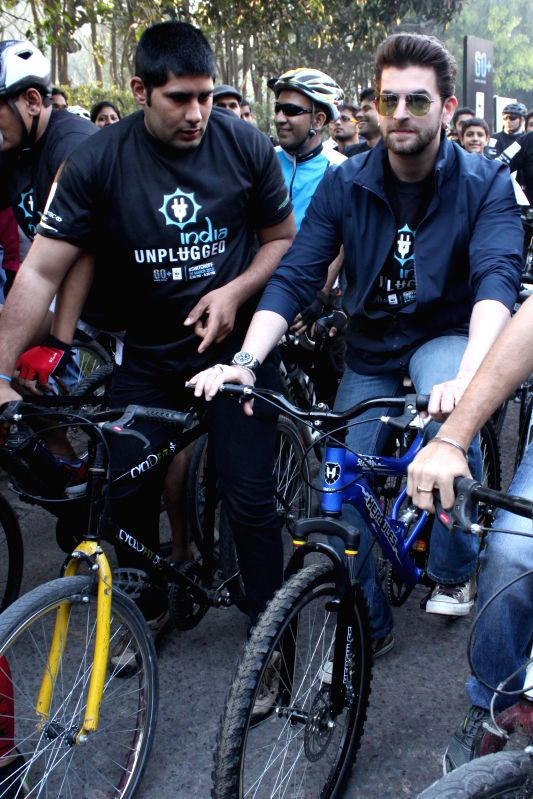 Actor Neil Nitin Mukesh during `Pedal for the Planet 2015` in New Delhi, on March 21, 2015.