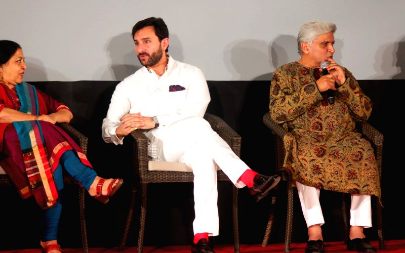 Actor Saif Ali Khan with lyricist Javed Akhtar and others during a programme at the German Embassy in New Delhi on April 24, 2015. - Saif Ali Khan