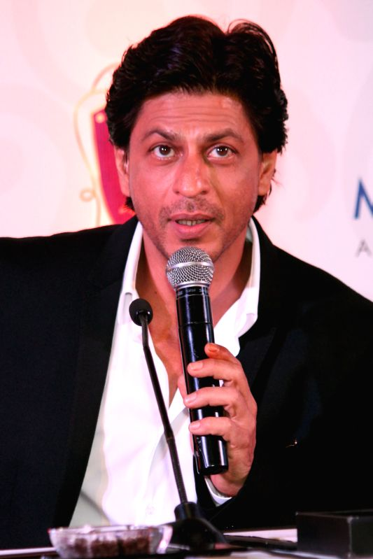 Actor Shah Rukh Khan during the launch of Mahagun`s luxurious properties `The M Collection`, in New Delhi, on April 11, 2015.