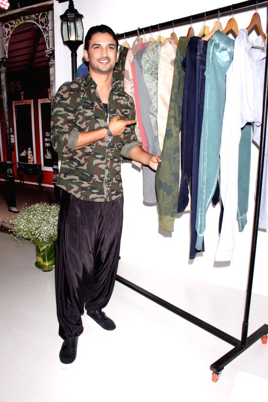 Actor Sushant Singh Rajput unveils an apparel line based on his upcoming film `Detective Byomkesh Bakshi` at Amazon India Fashion Week 2015 in New Delhi, on March 26,2015.