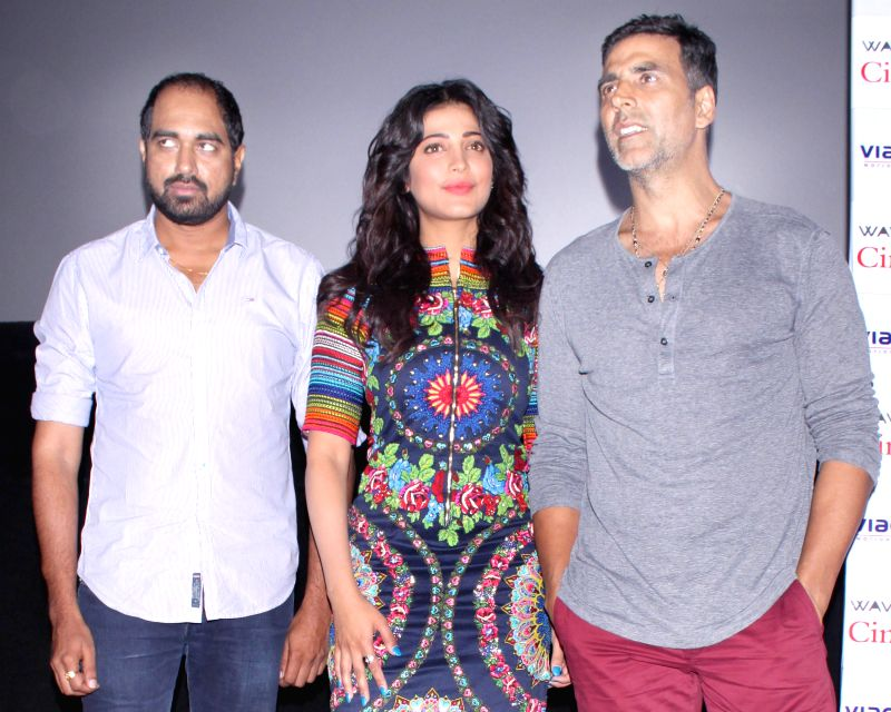 Actors Akshay Kumar and Shruti Haasan during a press conference regarding their upcoming film `Gabbar Is Back` in Noida, on April 24, 2015.