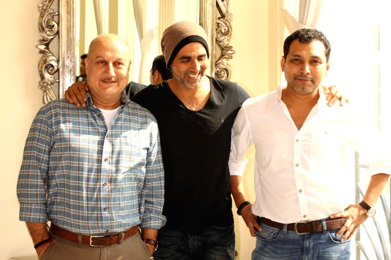 Actors Akshay Kumar, Anupam Kher and filmmaker Neeraj Pandey during promotion of their upcoming film `Baby` in New Delhi, on Jan 19, 2015. - Neeraj Pandey