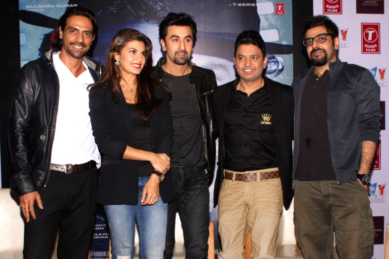 Actors Arjun Rampal, Jacqueline Fernandez and Ranbir Kapoor during a press conference to promote their upcoming film `Roy` in New Delhi, on Feb 9, 2015. - Arjun Rampal, Jacqueline Fernandez and Ranbir Kapoor