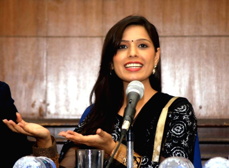 Actors  Heeba Shah during a press conference to promote her upcoming film `Tere Ishq Mein Qurbaan` in New Delhi, on April 1, 2015. - Heeba Shah