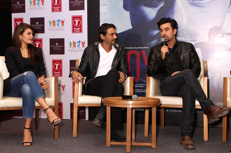 New Delhi:Actors Jacqueline Fernandez, Arjun Rampal and Ranbir Kapoor during a press conference to promote their upcoming film `Roy` in New Delhi, on Feb 9, 2015. - Jacqueline Fernandez, Arjun Rampal and Ranbir Kapoor