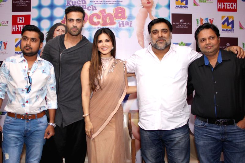 Actors Navdeep Chhabra, Sunny Leone and Ram Kapoor during the promotion of film `Kuch Kuch Locha Hai` in New Delhi on May 4, 2015. - Navdeep Chhabra, Sunny Leone and Ram Kapoor