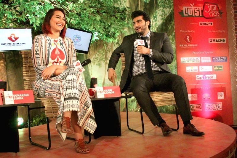 Actors Sonakshi Sinha and Arjun Kapoor at the `Agenda Aaj Tak` in New Delhi on Dec.13, 2014.