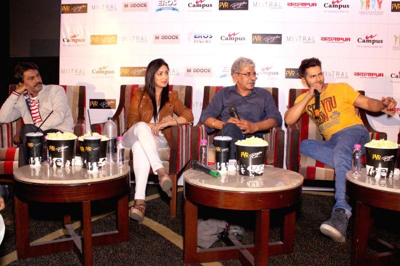 Actors Varun Dhawan, Nawazuddin Siddiqui, Yami Gautam with film filmmaker Sriram Raghavan during a press conference to promote their upcoming film `Badlapura` in New Delhi on Feb ... - Varun Dhawan, Nawazuddin Siddiqui and Yami Gautam