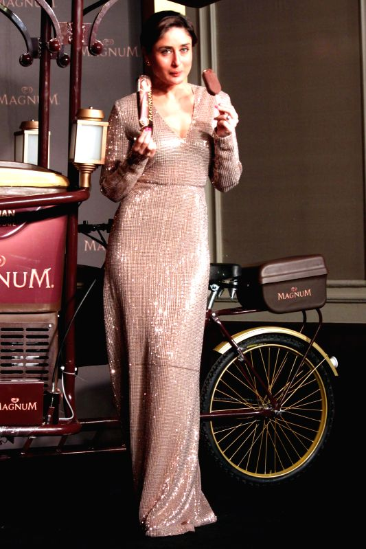 Actress Actress Kareena Kapoor at the launch of an ice cream, in New Delhi, on Feb 18, 2015. - Actress Kareena Kapoor