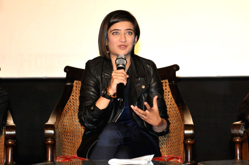 Actress Akshara Haasan during a promotional event of her upcoming film `Shamitabh` in New Delhi on Feb. 2, 2015. - Akshara Haasan