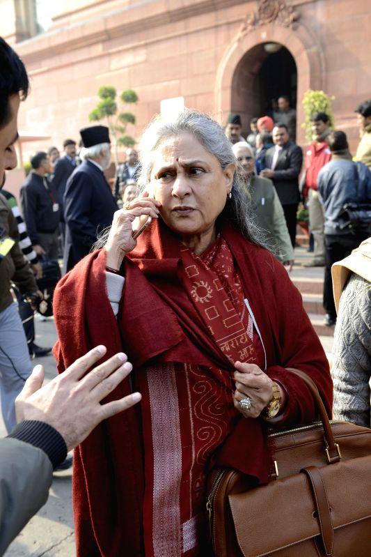 Actress and MP Jaya Bachchan at the Parliament premises in New Delhi, on Dec 18, 2014. - Jaya Bachchan