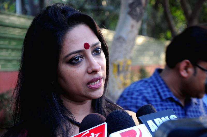 Actress Anjana Basu addresses press after meeting BJP chief Amit Shah at his residence in New Delhi, on March 12, 2015.