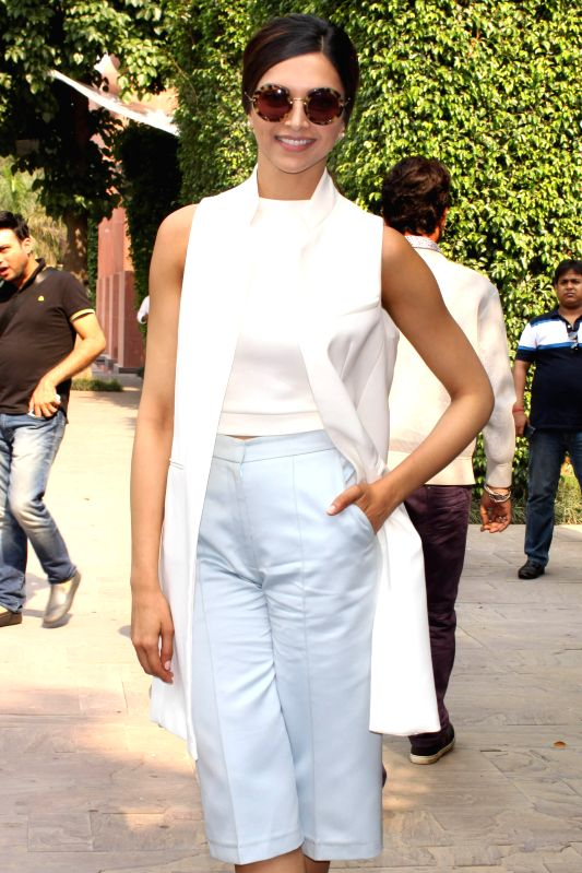 Actress Deepika Padukone during a press conference to promote her upcoming film `Piku` in New Delhi, on May 4, 2015. - Deepika Padukone