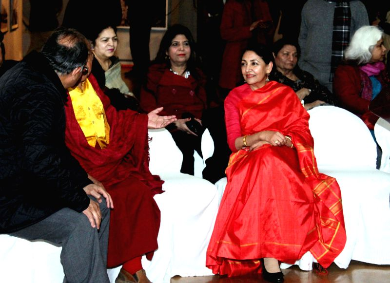 Actress Deepti Naval at Kishore Thukral's photography exhibition in New Delhi, on Jan 14, 2015.