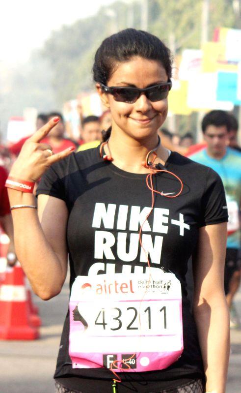 Actress Gul Panag during Airtel Delhi Half Marathon at Jawaharlal Nehru Stadium in New Delhi on Nov 23, 2014.