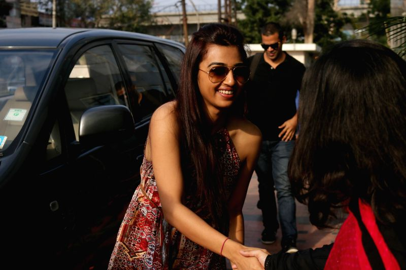 Actress Radhika Apte arrives for an interview at IANS office in New Delhi on March 16, 2015.