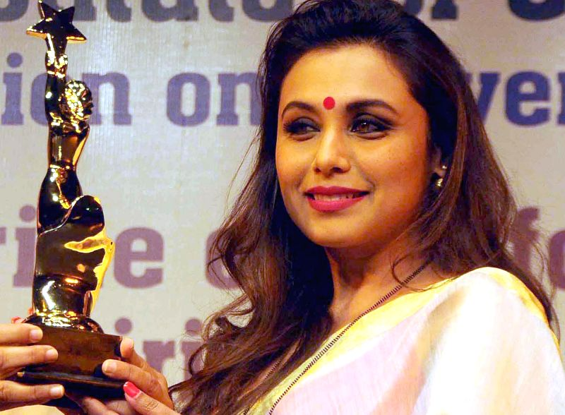 Actress Rani Mukerji being felicitated during a programme  during a programme organised to observe International Women's Day at  India Habitat Centre in New Delhi on March 3, 2015. The ...
