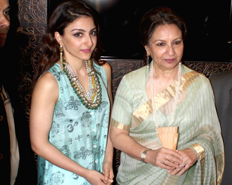 Actress Sharmila Tagore and Soha Ali Khan at the launch of a jewelery shop in New Delhi, on April 22, 2015.