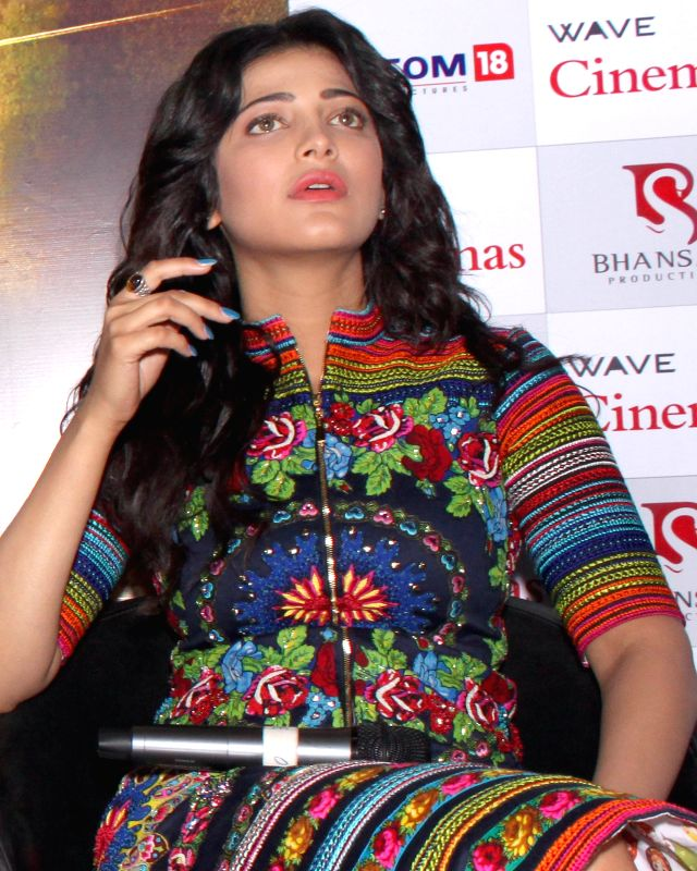 Actress Shruti Haasan during a press conference regarding her upcoming film `Gabbar Is Back` in Noida, on April 24, 2015.