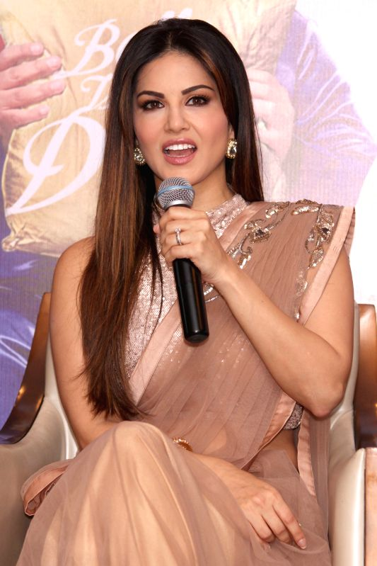 Actress Sunny Leone during the promotion of film `Kuch Kuch Locha Hai` in New Delhi on May 4, 2015. - Sunny Leone