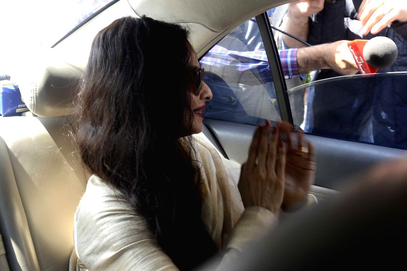 Actress turned politician Rekha at the Parliament in New Delhi, on March 18, 2015. - Rekha