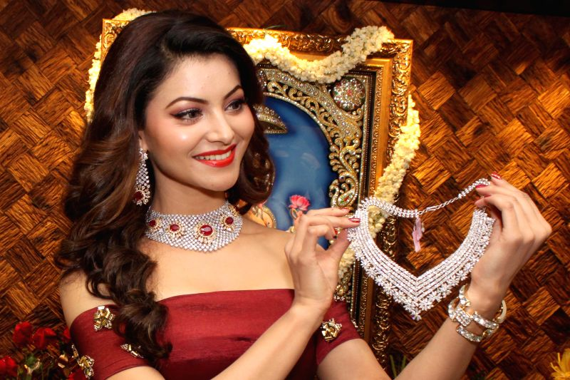 Actress Urvashi Rautela at the launch of a jewelery shop in New Delhi, on April 22, 2015.