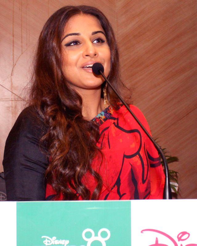 Actress Vidya Balan addresses during `Friends For Change` - an innovative inter-school volunteering program in New Delhi on Feb 25, 2015.