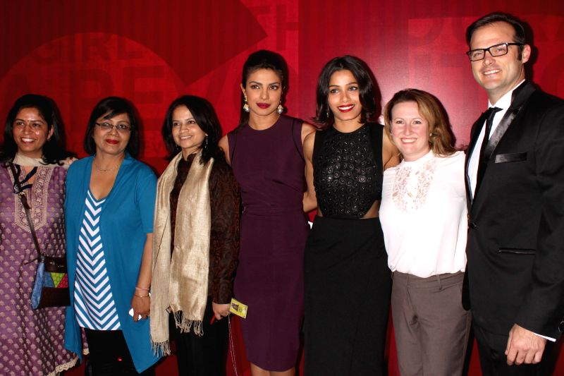 Actresses and Girl Rising ambassadors Priyanka Chopra and Freida Pinto at the announcement of Girl Rising campaign in India, in New Delhi on Nov 29, 2014.