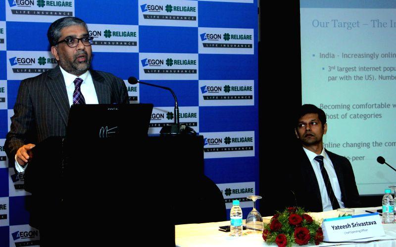 Aegon Religare CEO Yateesh Srivastava addresses a press conference in New Delhi, on Jan 7, 2015.