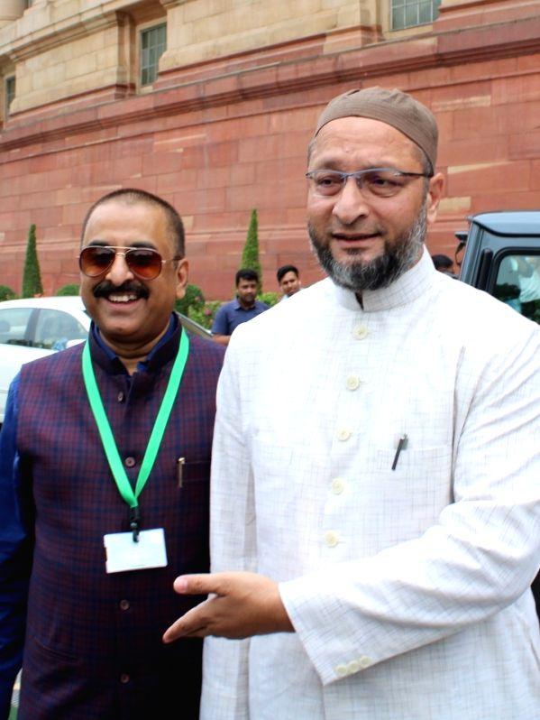 New Delhi: AIMIM chief and Hyderabad MP Asaduddin Owaisi arrives at Parliament in New Delhi on June 17, 2019. (Photo: Amlan Paliwal/IANS)