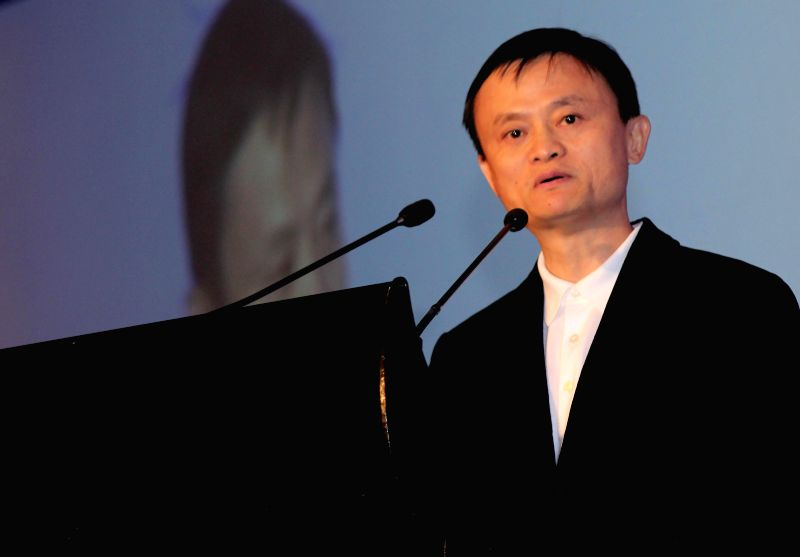 Alibaba founder Jack Ma addresses during Zhejiang China-India business cooperation conference organised by FICCI in New Delhi, on Nov 26, 2014.