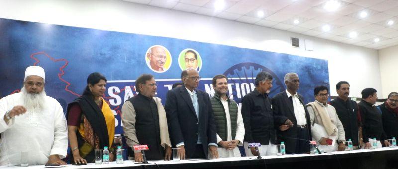 New Delhi: All India United Democratic Front (AIUDF) chief Maulana Badruddin Ajmal, DMK leader Kanimozhi, Loktantrik Janata Dal (LJD) leader Sharad Yadav, Nationalist Congress Party (NCP) chief Sharad Pawar, Congress President Rahul Gandhi, Andhra Pr