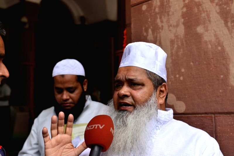 : New Delhi: All India United Democratic Front (AIUDF) MP Badruddin Ajmal talks to the media at Parliament, in New Delhi on Aug 1, 2018. (Photo: IANS).