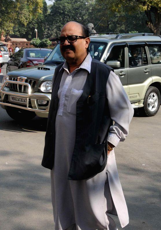 Amar Singh at the Parliament premises in New Delhi, on Nov 25, 2014. - Amar Singh