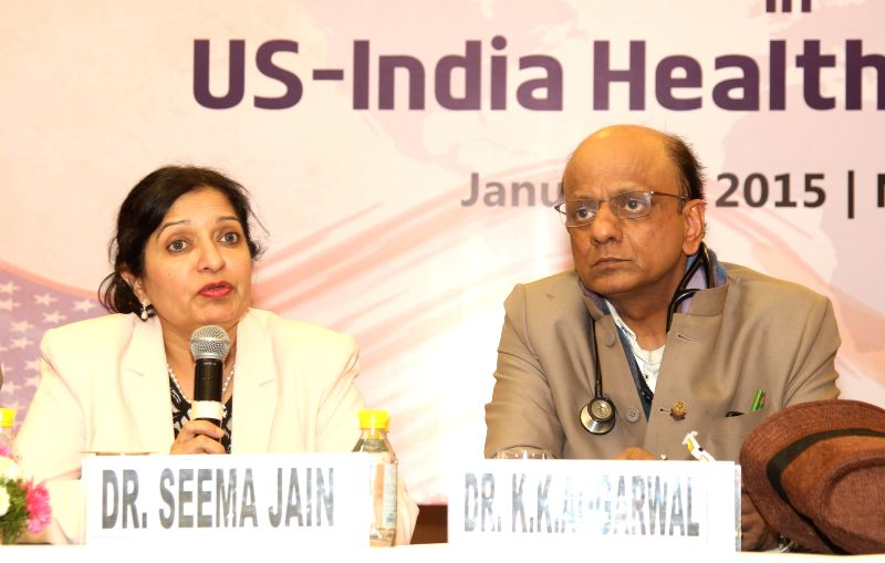 American Association of Physicians of Indian Origin (AAPI) President-elect Dr. Seema Jain with Indian Medical Association (IMA) Hon. Secretary General Dr K K Aggarwal during a press ... - Seema Jain