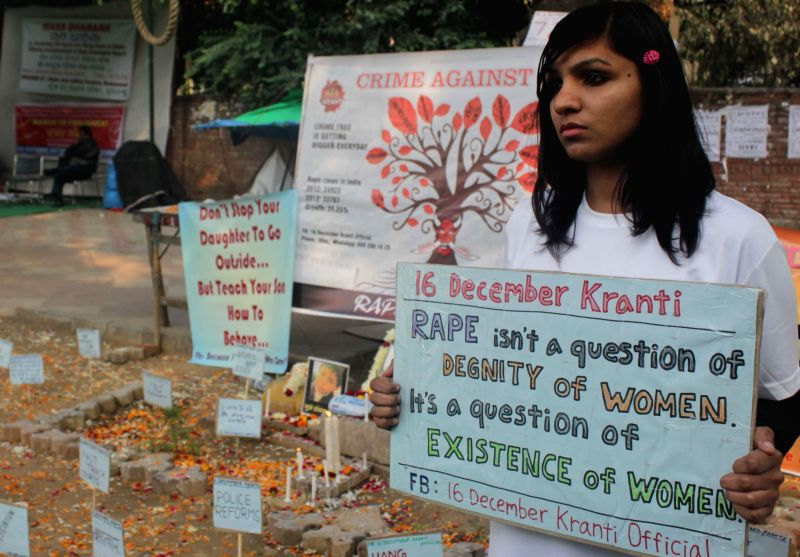 An activist during a demonstration to condemn 2012 Nirbhaya gangrape at Jantar Mantar in New Delhi on Dec 16, 2014.