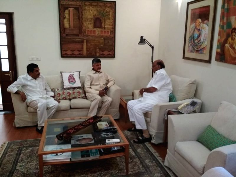 New Delhi: Andhra Pradesh Chief Minister and TDP supremo N. Chandrababu Naidu meets Nationalist Congress Party (NCP) President Sharad Pawar, in New Delhi, on May 19, 2019.