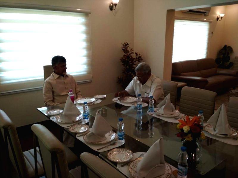 New Delhi: Andhra Pradesh Chief Minister and TDP supremo N. Chandrababu Naidu meets CPI-M General Secretary Sitaram Yechury, in New Delhi, on May 19, 2019. (Photo: IANS)